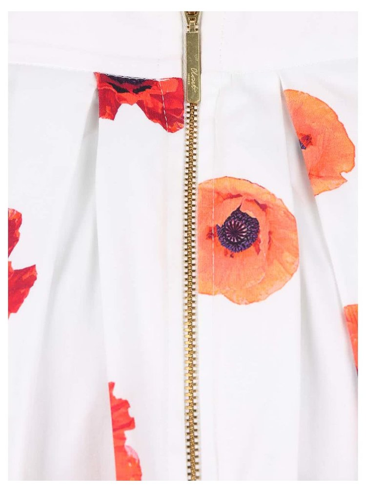 Fusta Closet alba, cu print floral