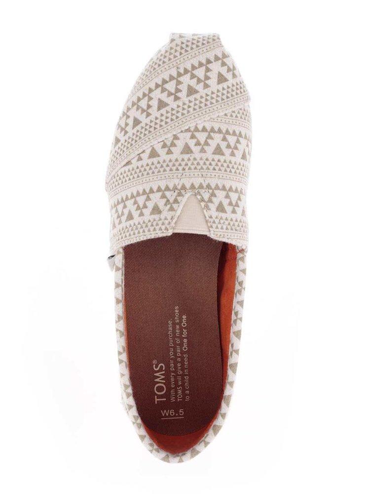 Espadrile crem cu model aztec TOMS pentru femei