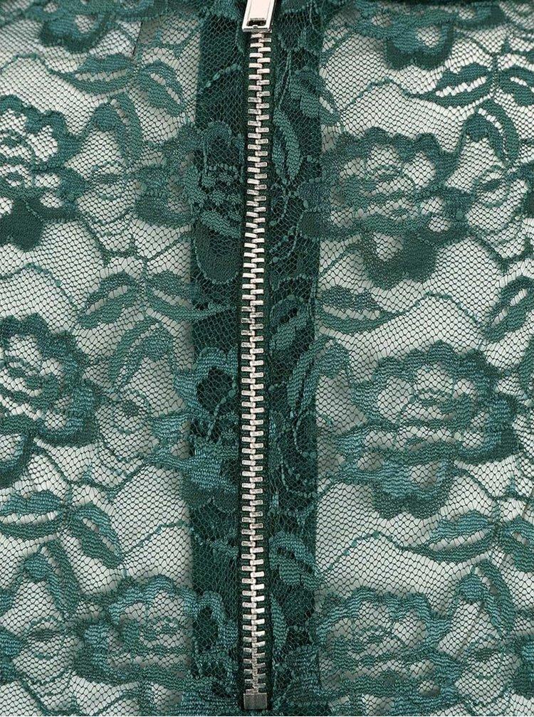 Tmavozelené šaty s čipkou Noisy May Kelly