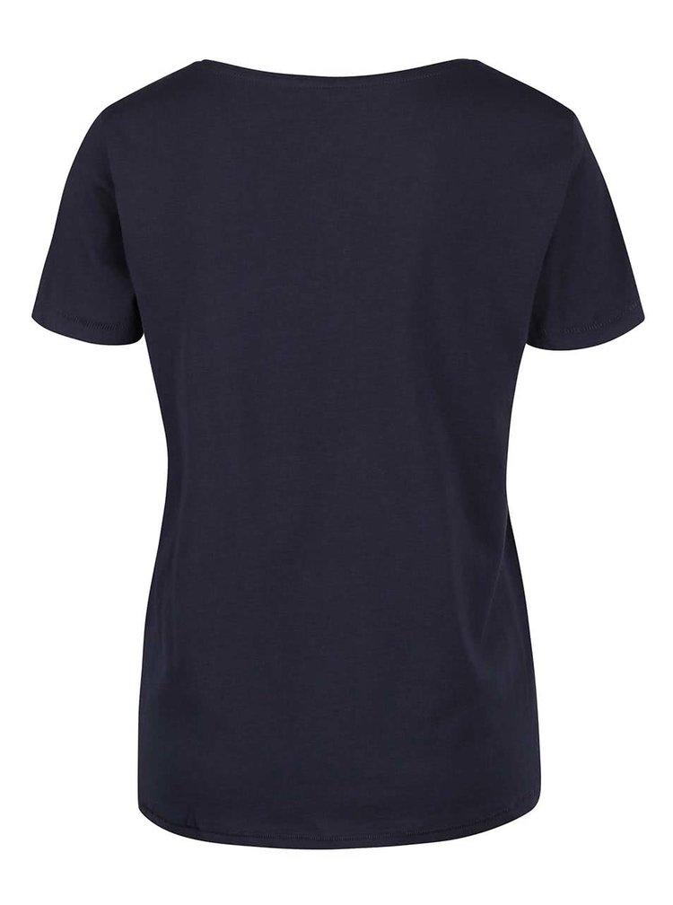 Tmavomodré tričko s potlačou pierka ONLY Cotton