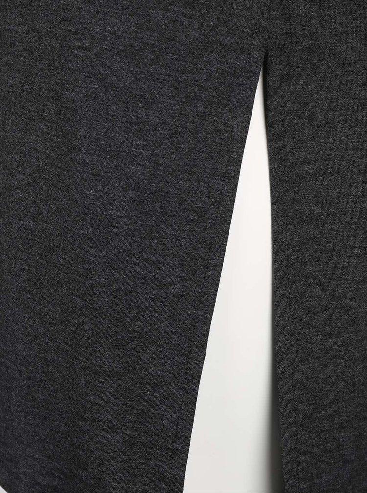 Tmavě šedé žíhané dlouhé tričko s potiskem ONLY Helena