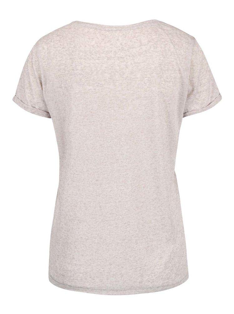 Béžové žíhané tričko s potiskem ONLY Milla