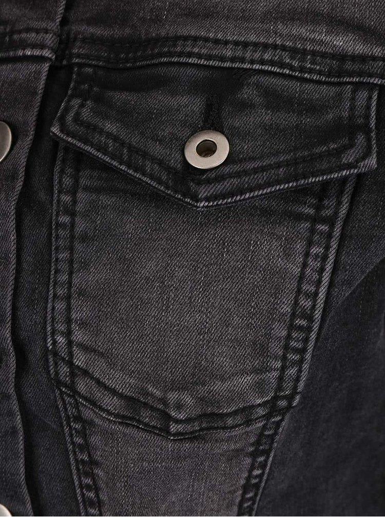 Tmavosivá rifľová bunda bez goliera ZOOT Now