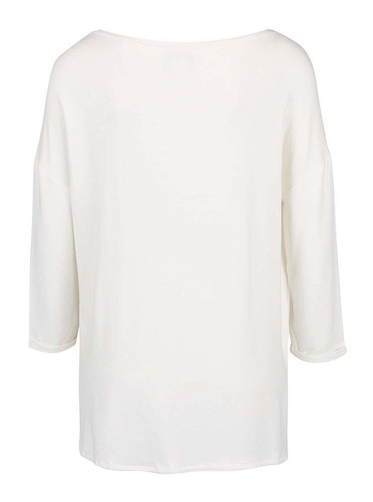 Krémové tričko s 3/4 rukávmi ONLY Clara