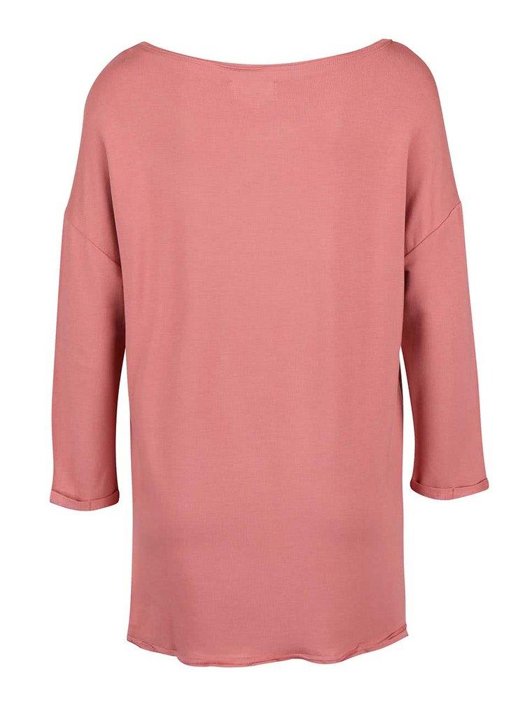 Starorůžové tričko s 3/4 rukávem ONLY Clara