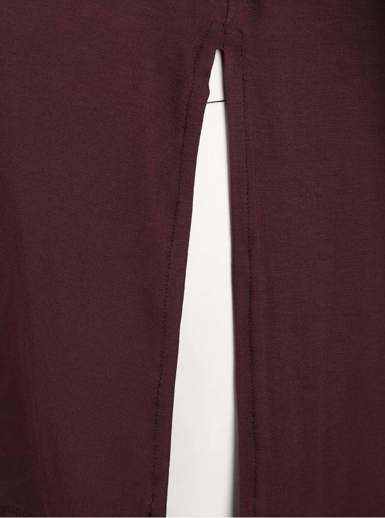 Tricou grena ONLY Helena cu șlițuri laterale