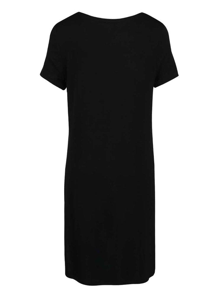 Černé tričko s potiskem a rozparky ONLY Helena