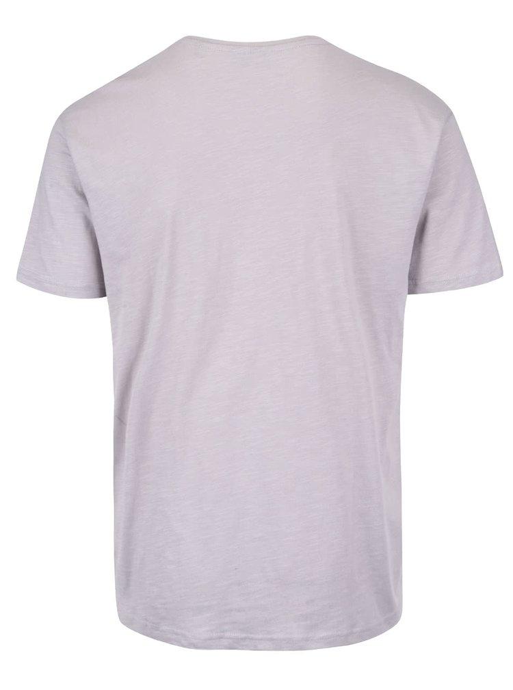 Svetlosivé pánske melírované tričko s potlačou Broadway Oak