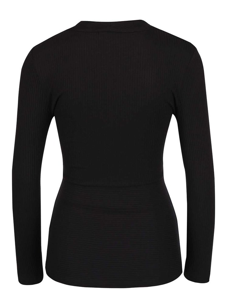 Čierne tričko s dlhým rukávom a prekladaným výstrihom ONLY Mia