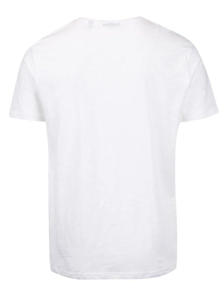 Krémové pánske melírované tričko s potlačou Broadway Oak