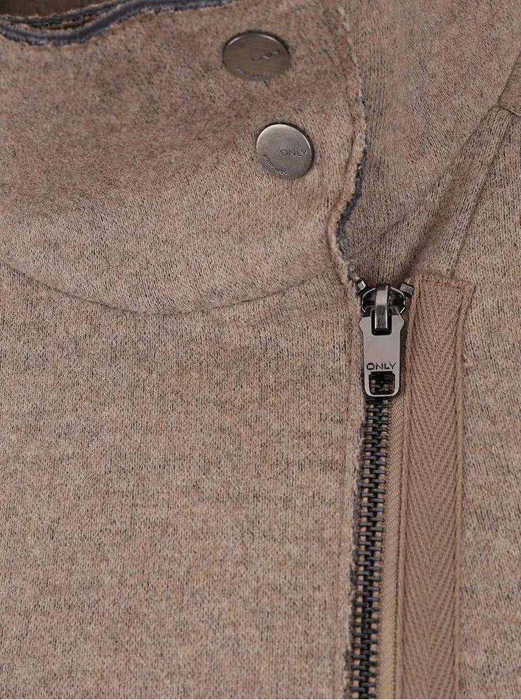 Béžový melírovaný kabát s golierom ONLY Jamie