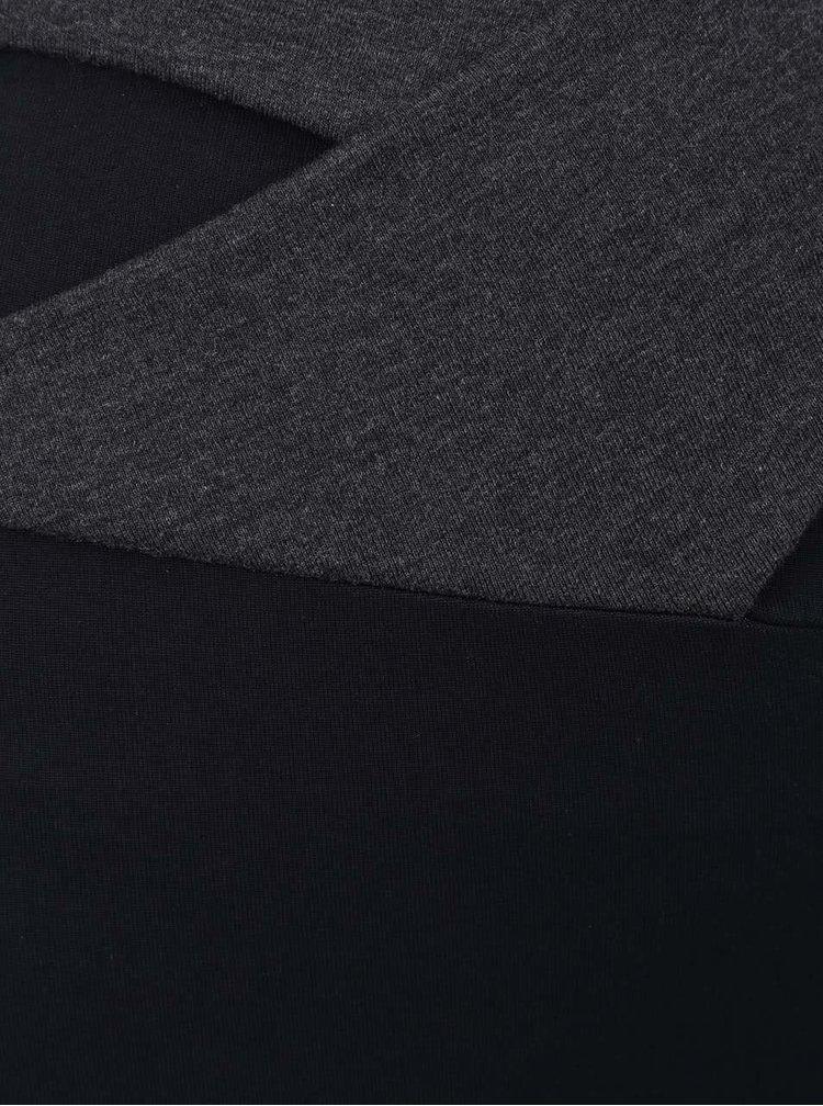 Čierno-sivé legíny s vysokým pásom a mašľou Quontum