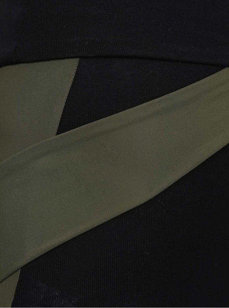Khaki-černé legíny s vysokým pasem Quontum