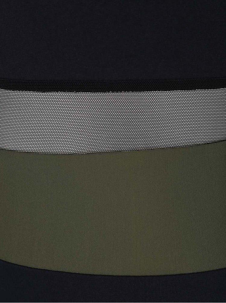 Kaki-čierne športovné body s dlhým rukávom s priehľadnými pruhmi Quontum