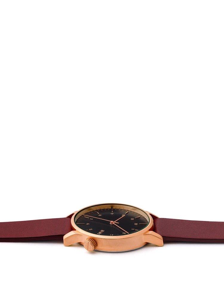 Unisex hodinky ve zlaté barvě s vínovým koženým páskem Komono Winston Regal
