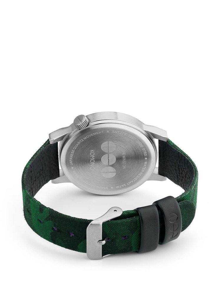 Unisex hodinky ve stříbrné barvě s textilním páskem Komono Winston Print