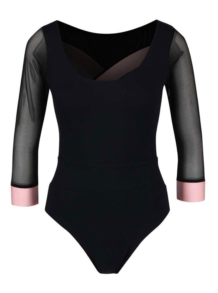 Body negru Quontum cu benzi elastice roz