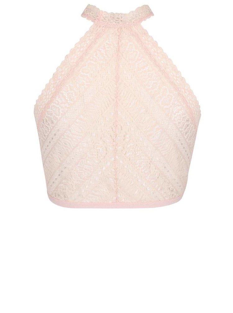 Bustiera halter roz pudra Pieces Jill din dantela