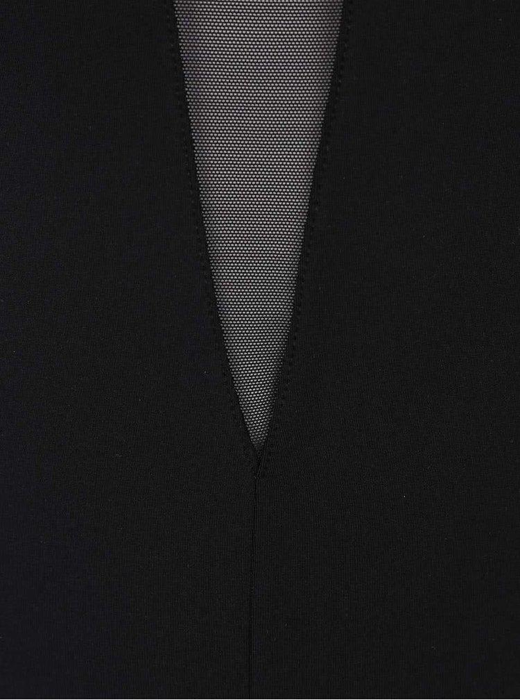 Černé body s průhlednými rukávy Pieces Lla