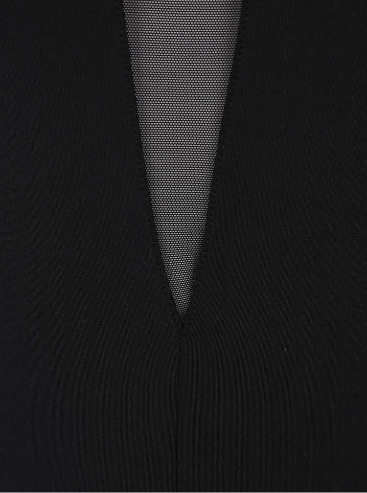 Body negru Pieces Lla cu maneci transparente