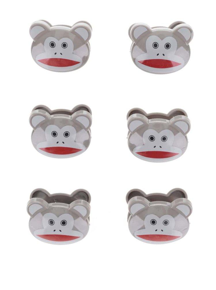 Sada šesti klipů na sáčky v hnědé barvě ve tvaru opiček Kikkerland Monkeys