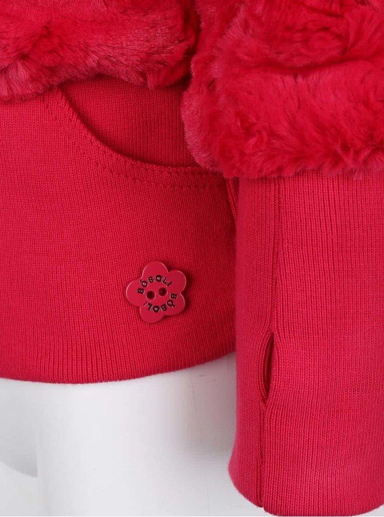 Ružová dievčenská chlpatá mikina s kapucňou Bóboli