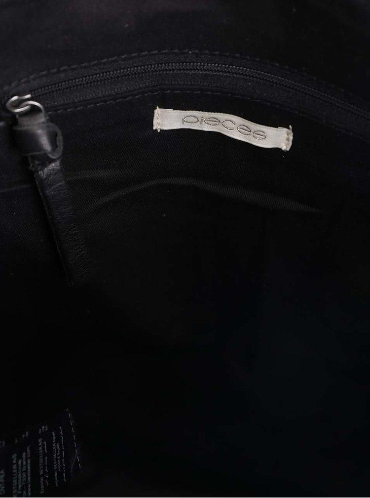 Černá kožená kabelka Pieces Piper