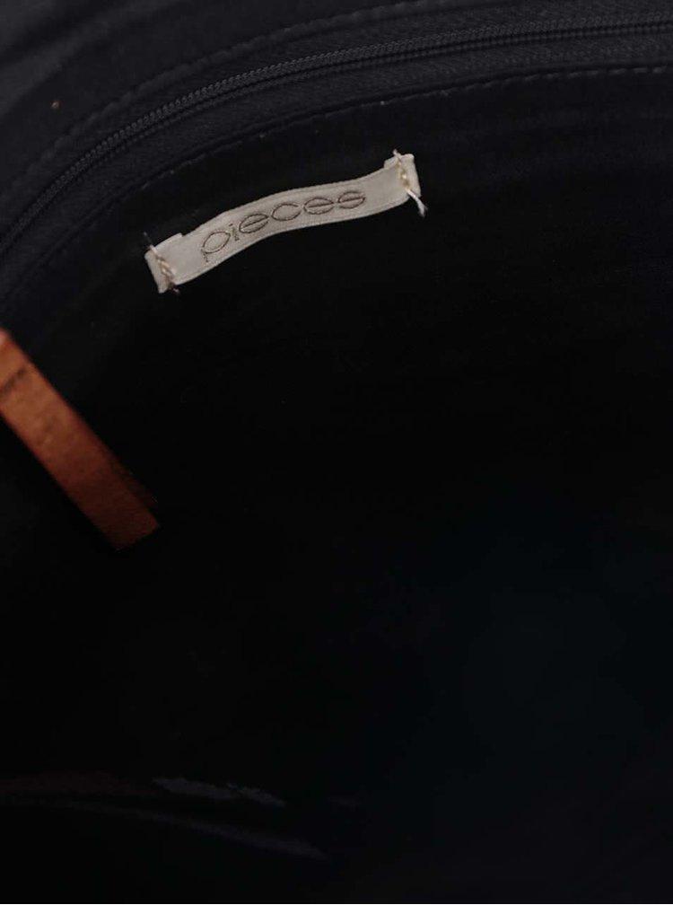 Hnedá kožená crossbody kabelka Pieces Piper