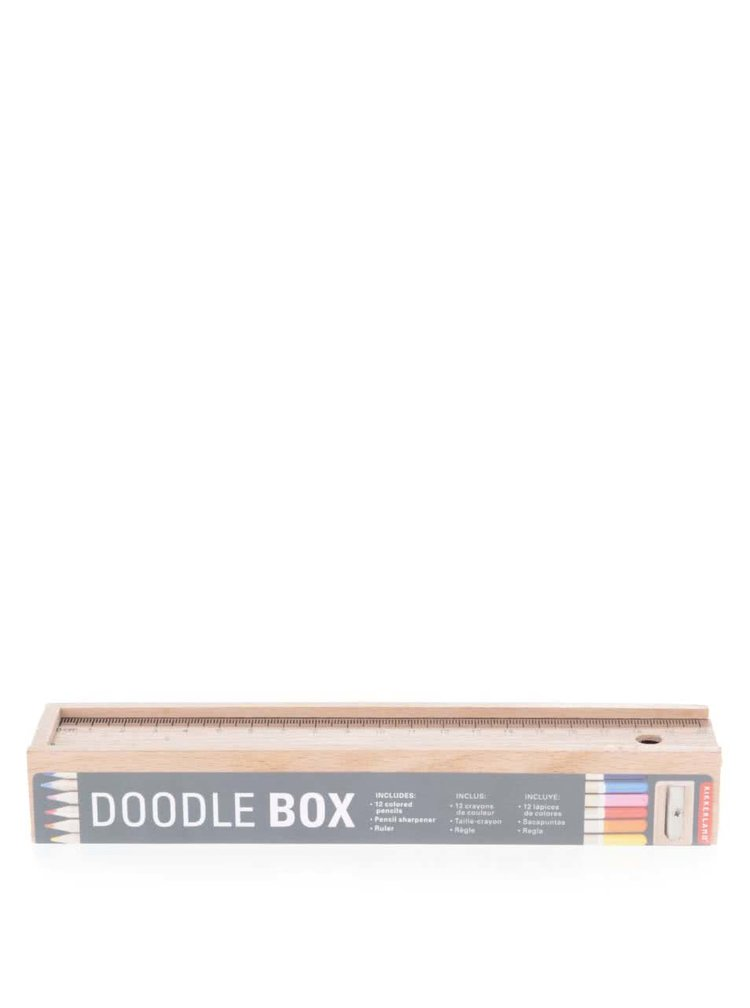 Sada dvanácti pastelek v dřevené krabičce Kikkerland