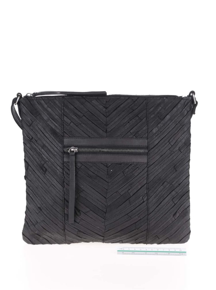 Černá kožená crossbody kabelka Pieces Piper
