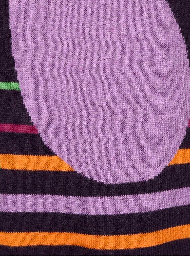 Fialové dievčenské pletené šaty s motýlikom Bóboli