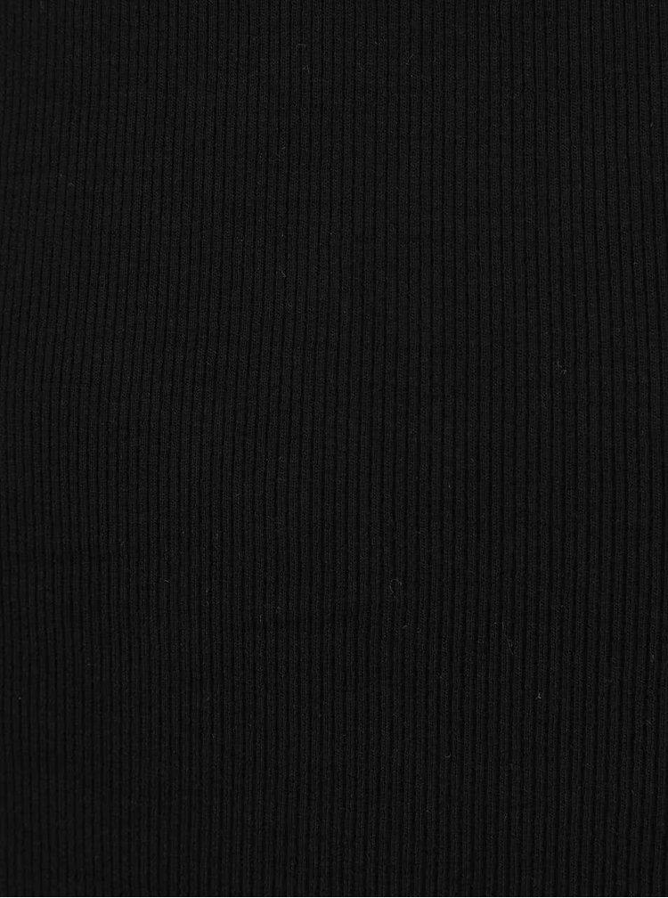 Čierne tričko s dlhým rukávom a lodičkovým výstrihom TALLY WEiJL