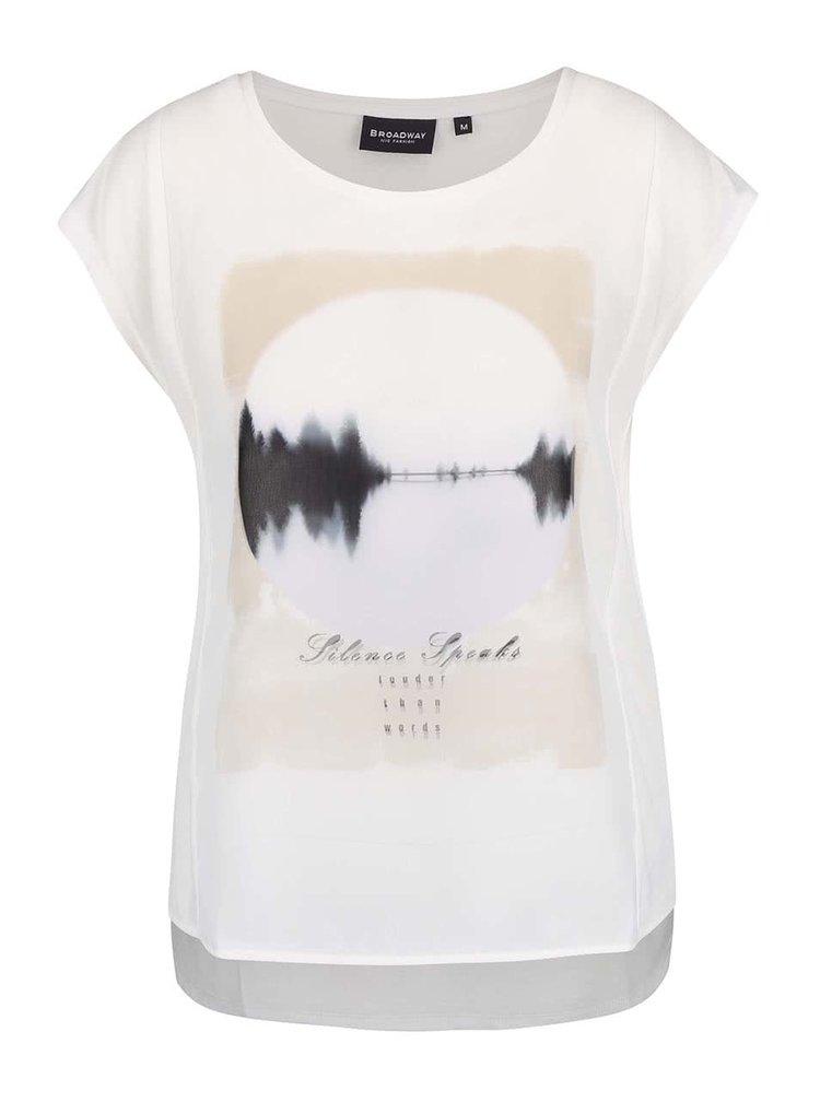 Krémové dámské tričko s potiskem Broadway Olivine