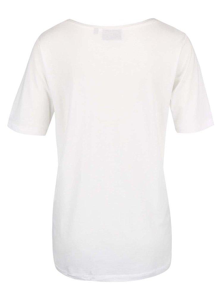 Krémové volnější dámské tričko s potiskem Broadway Rolande