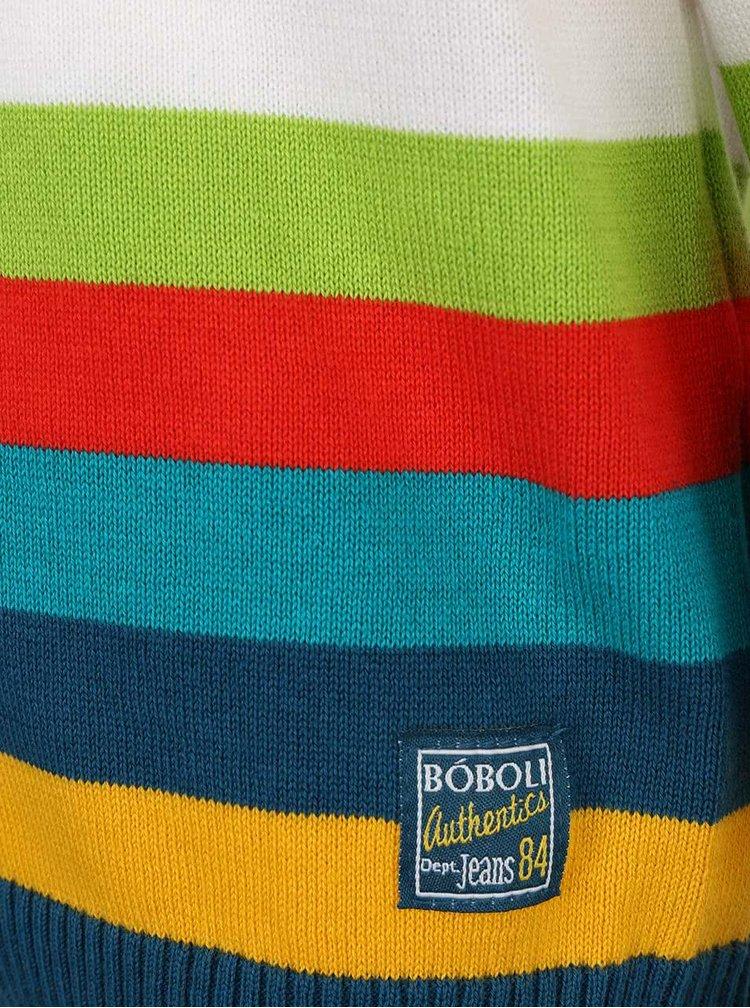Modrý chlapčenský sveter s farebnými pruhmi Bóboli
