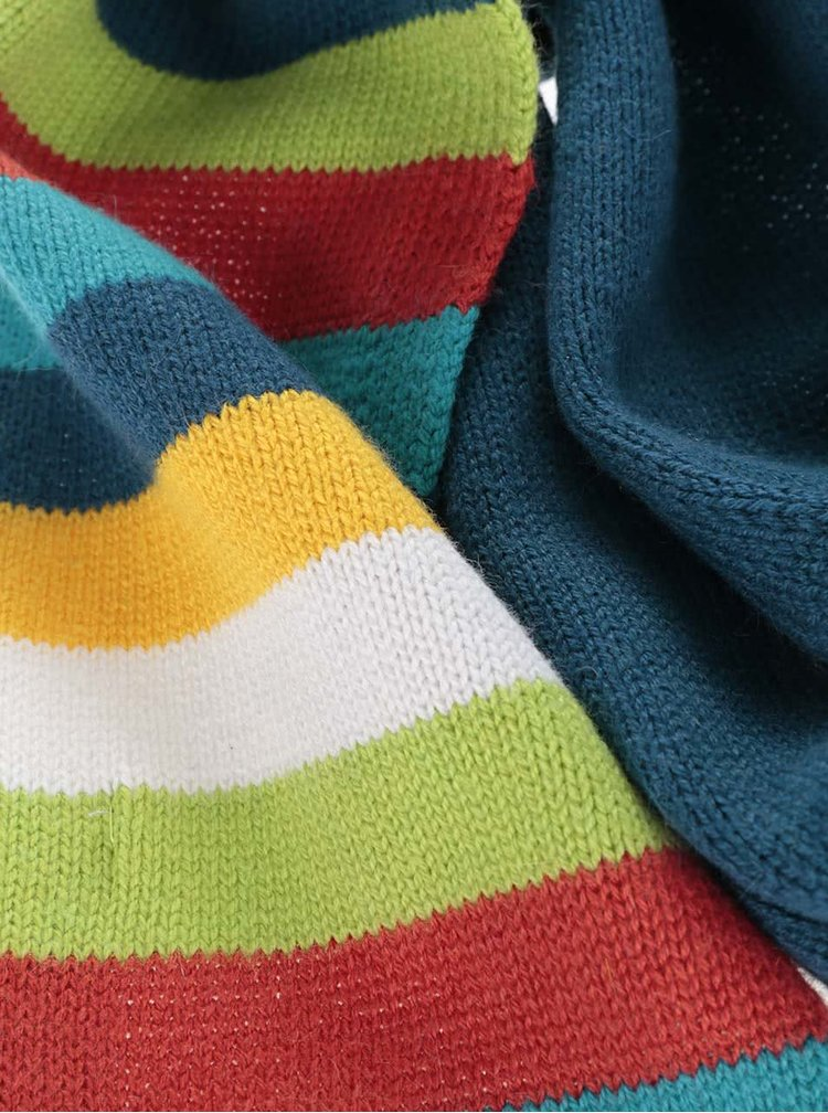 Modrý chlapčenský šál s farebnými pruhmi Bóboli