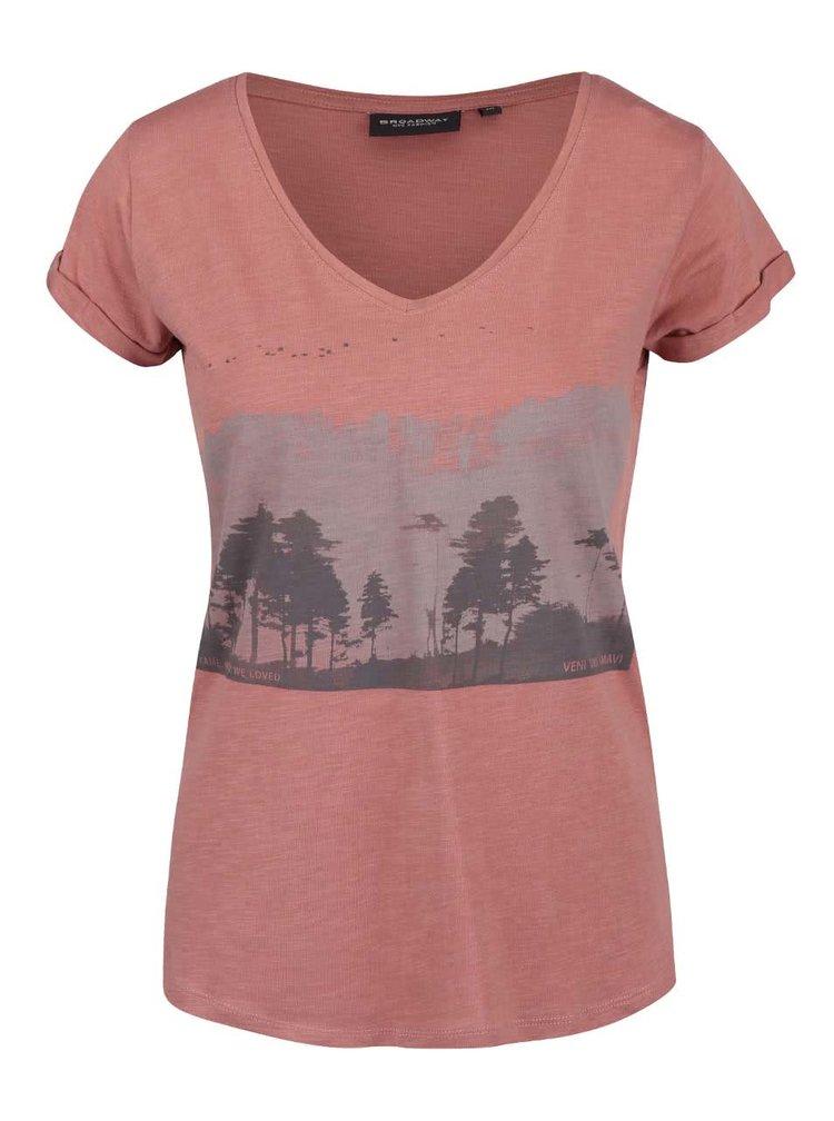 Světle hnědé dámské tričko s potiskem Broadway Oriana