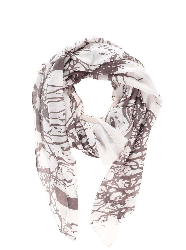 Hnědo-krémový dámský šátek s motivem stromů Broadway Oddrun