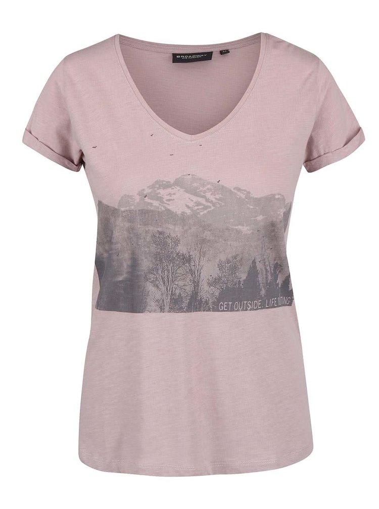 Šedorůžové žíhané dámské tričko s potiskem Broadway Oriana