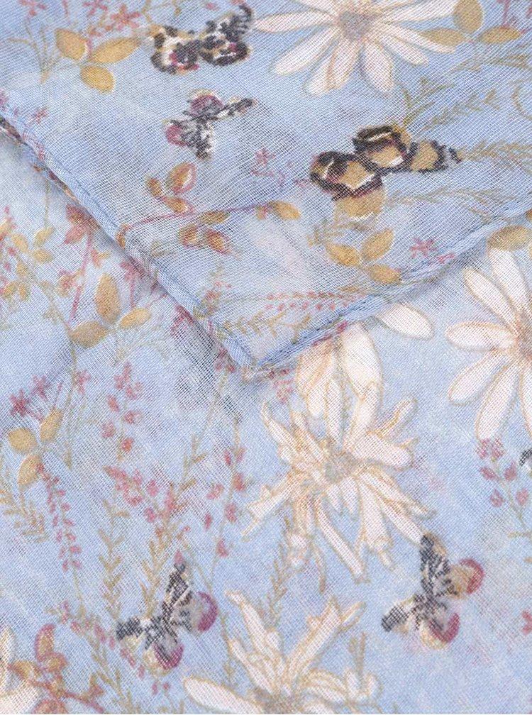 Modrý dámský květovaný šátek Broadway Natalka