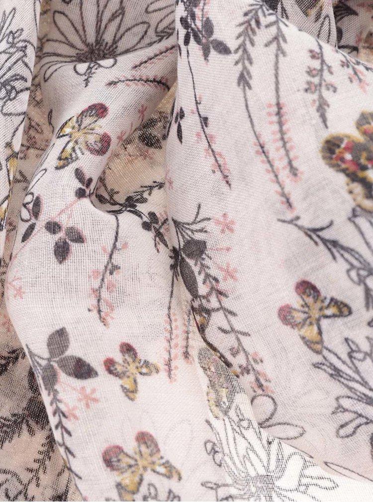 Krémový dámský květovaný šátek Broadway Natalka