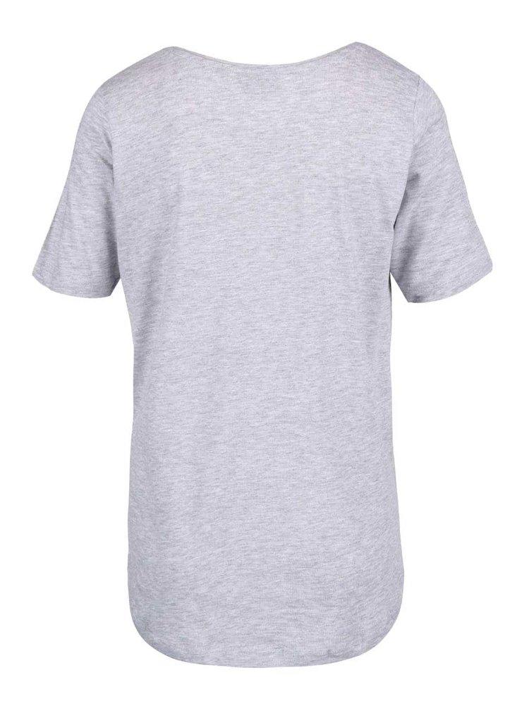Světle šedé žíhané dámské tričko s potiskem Broadway Rolande