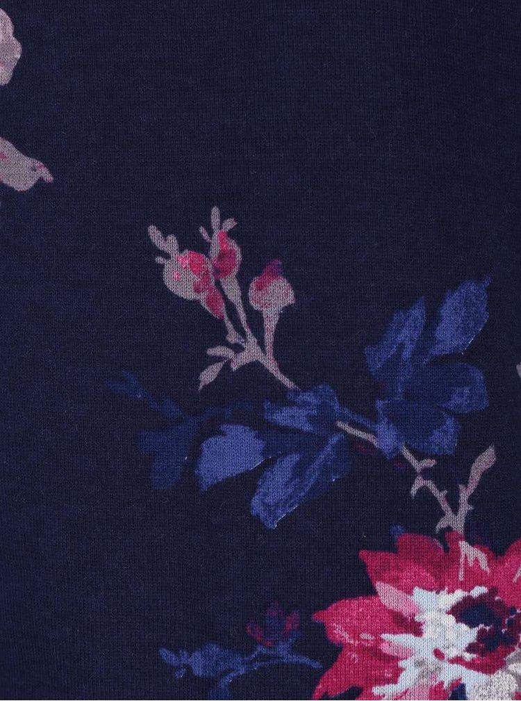 Tmavě modré dámské tričko s růžovými květy Tom Joule Harbour