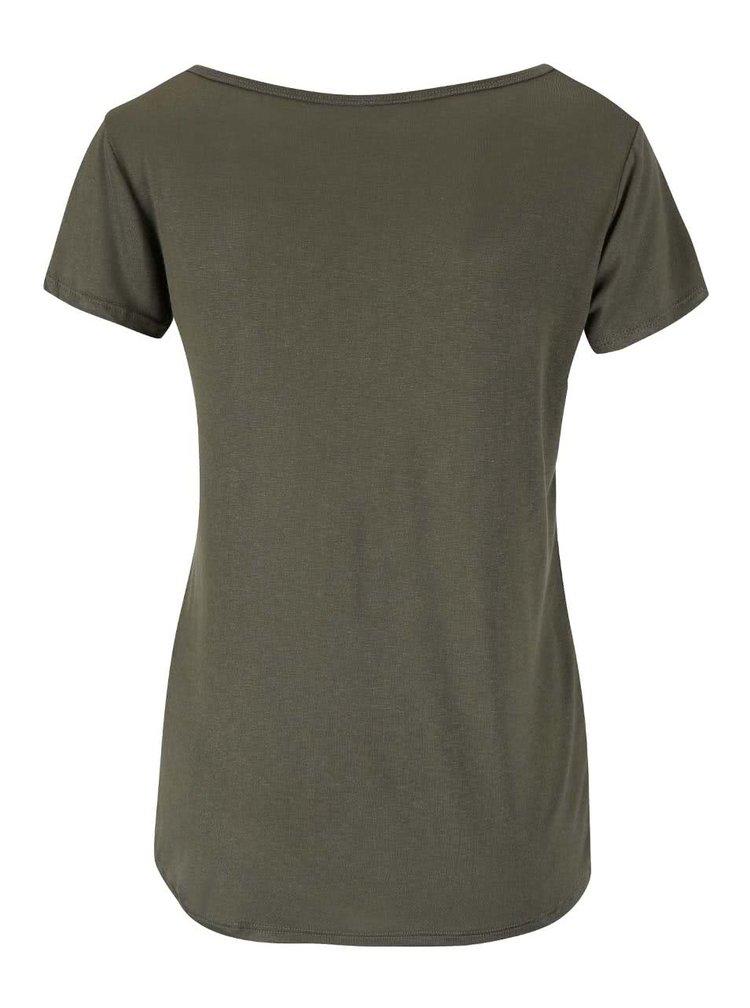 Tricou kaki Haily´s Badge cu aplicații