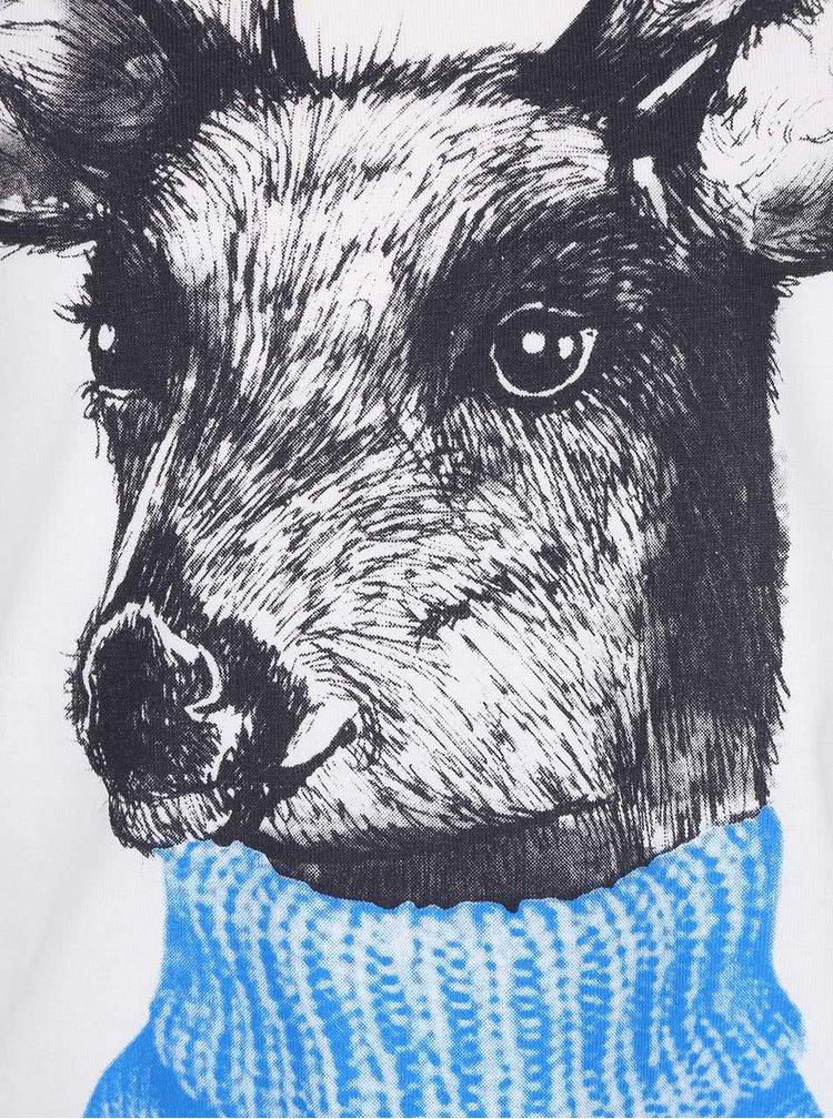 Krémové chlapčenské tričko s potlačou jeleňa s dlhým rukávom Bóboli