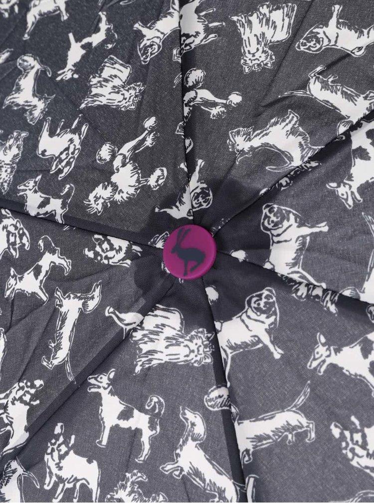 Umbrela pliabila albastra Tom Joule Brolly cu imprimeu
