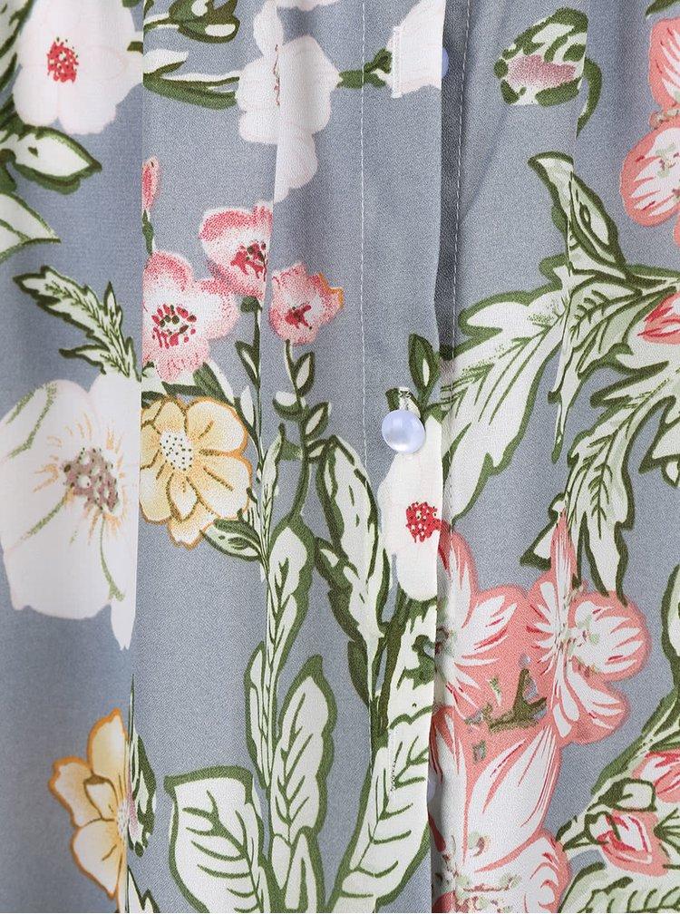 Šedé maxišaty s květinovým potiskem a odhalenými rameny LYDC