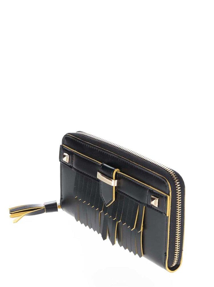Čierna peňaženka so strapcom a detailmi v zlatej farbe Anna Smith