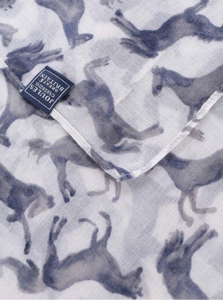 Eșarfă albă Tom Joule Wensley cu imprimeu