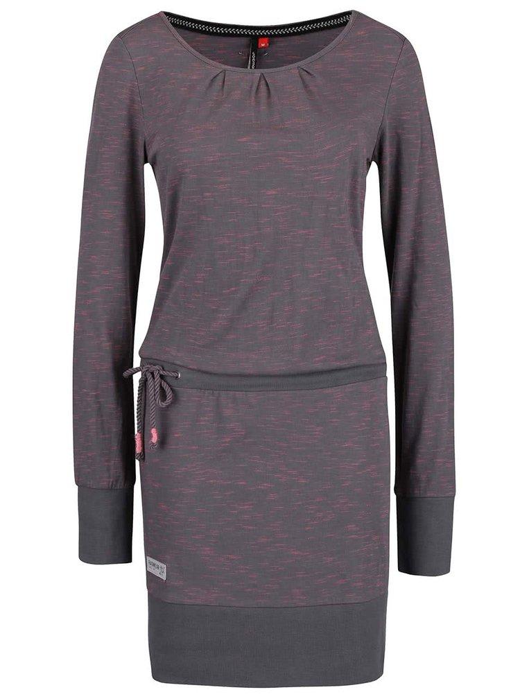 Růžovo-šedé žíhané šaty s dlouhým rukávem Ragwear Alexa